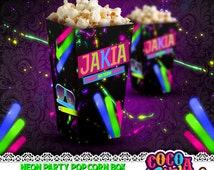 Neon Party Printable Popcorn box template, Neon Popcorn Box, Printable popcorn box, Neon Party Favor box, Neon party, Glow in the dark Party