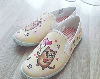 "Custom Art Shoes ""Cats in Love"""
