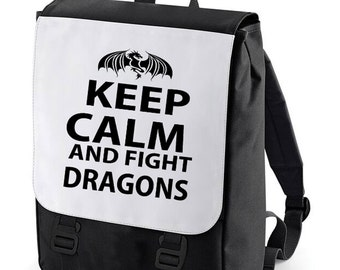 Keep Calm and fight dragons Backpack Bag perfect for school (Bagbase)