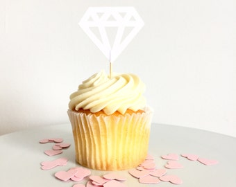 White Diamond Food Pick / Cupcake Toppers (set of 12)