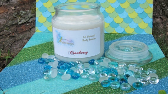 All Natural  CRANBERRY Sugar Scrub, Handmade by a Certified Esthetician 8 oz/16 oz