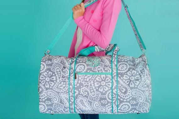 Monogram Duffle ~ Monogram Duffel ~  Duffel Bag ~ Paisley Duffle Bag ~ Gray and Mint Duffel ~ Girls Duffle Bag ~ Going to Grandma's Duffle