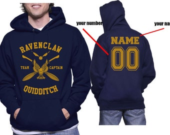 CAPTAIN - Custom back, Ravenclw Quidditch team Captain YELLOW print printed on NAVY Hoodie