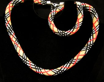 Beaded crochet rope necklace and bracelet set. Orang, Black,red, white beads rope. Beaded harness necklace rope and bracelet. Crochet rope