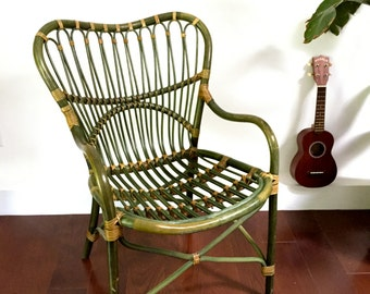 LOCAL NYC ONLY: Rattan & Bamboo Bentwood Side Chair