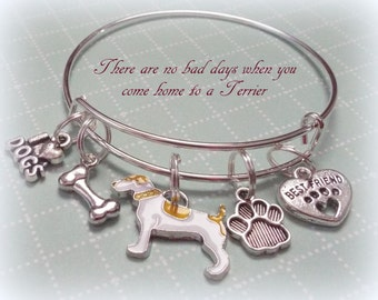 Terrier Dog Lover Gift, Terrier Charm Bracelet, I Love My Dog Jewelry, Animal Lovers Gift, Christmas Gift for Dog Lovers and for Her