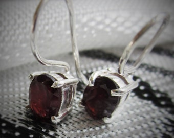 Classic Oval, Caged, Red Garnet Earrings