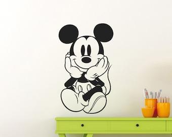 Mickey Mouse Wall Decal Disney Cartoon Vinyl Sticker Bedroom Poster Stencil Nursery Girl Boy Baby Kids Room Art Decor Removable Mural 40ct