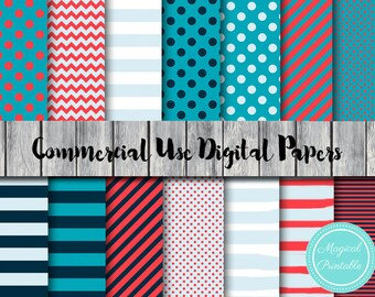 Ocean Digital Paper, Sea Digital Papers, Nautical, Instant Download, Commercial Use, Scrapbook Digital Papers, Digital Background, DP36