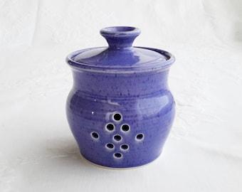 ready to ship, ceramic garlic holder, wheel thrown blue garlic pot, pottery garlic pot, handmade garlic holder, garlic jar, garlic container