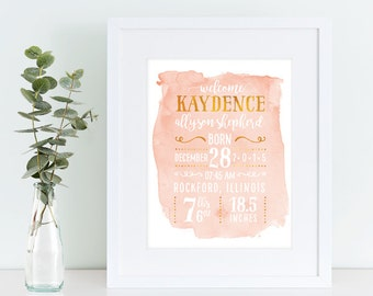 Personalized PRINTABLE nursery, Birth announcement, personalized nursery print, nursery decor, new baby gift, baby keepsake, baby print