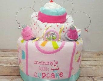 Cupcake diaper cake, topsy turvy diaper cake, girl diaper cake, baby shower for girl, pink diaper cake, baby sprinkle,  Made to order