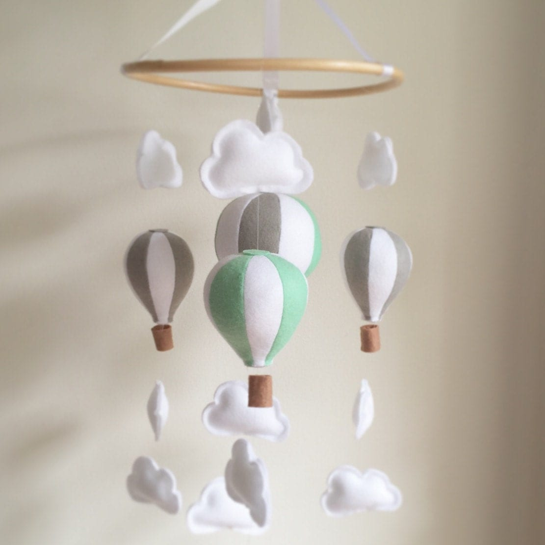Mint Amp Grey Hot Air Balloon Mobile Baby Mobile Crib Mobile