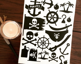 Set of wall stickers pirates for children's rooms