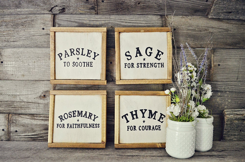 Clearance Rustic Framed Herb Signs Kitchen Decor Rustic Home
