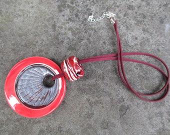red ceramic pendant necklace