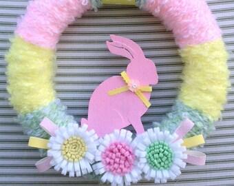 Easter Wreath, Spring Wreath, Pink Bunny Wreath, Pink Spring Wreath, Pink Rabbit Wreath, Yarn Wreath, Easter Yarn Wreath, Flower Wreath