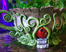 Forest Teacup Planter with Red Door