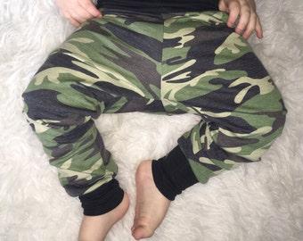 CAMO BABY LEGGINGS; camo baby pants, french terry