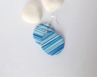 Modern Earrings , Everyday earrings , Polymer Clay Earrings , Gift for her , Round earrings , Dangle drop earrings , Blue earrings