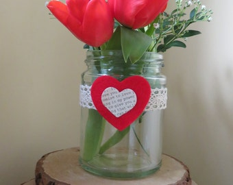 Hand decorated Jars  perfect for Valentines Day gift, or as Wedding centrepieces can be used for tealights or flowers