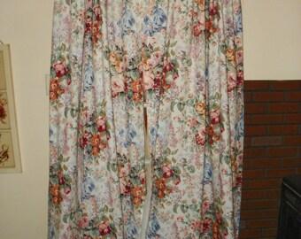 """Ralph Lauren """"Allison"""" Pair of Drapes-Multicolor Floral 86"""" Long"""