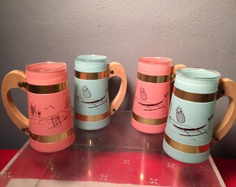 Mid Century Modern Siesta Ware Hawaiian  Mugs