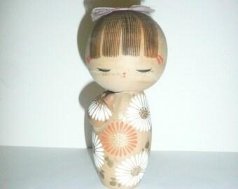 Vintage Japanese Kokeshi Doll, Wooden Oriental Doll