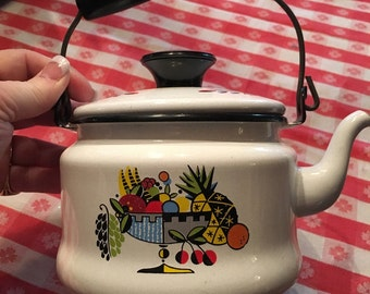 50's Enamel Tea Kettle