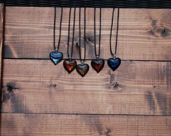 Dichroic heart glass pendant necklace