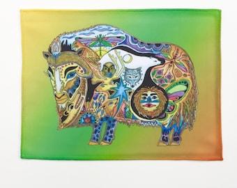 Microfiber Cloth Wipes MuskOx Animal Spirits by Sue Coccia Native American Art Microfiber for Glasses, Computer Screens, Ipad, & Phones