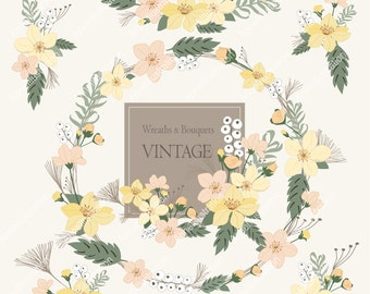 Floral Clipart,Border Clipart,Spring Clipart,flower Clipart,Wedding Cliaprt,Vintage flowers Clipart,Vector,Blush Flowers Clipart_ FW4