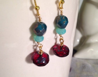 Czech glass burgundy and turquoise dangle earring