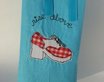 "Gingham Platform Shoe Bag, All Cotton Lining,  Finished Edges, 13"" tall x 7""wide x 4""deep, Grosgrain Ribbon Closure"