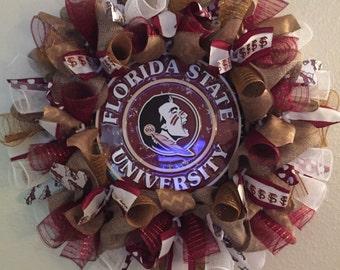 Florida State Seminoles, FSU Wreath, Seminoles Wreath, Florida State University, Sports Decor