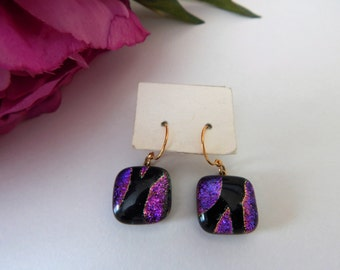 Purple Fused Glass Earings