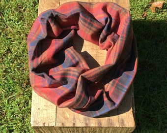 Rust, Green, Blue and Black Plaid Infinity Scarf