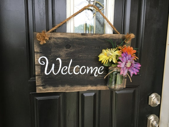 Front door welcome sign Front porch welcome sign Rustic wood welcome sign Distressed wood welcome door sign Rustic welcome door sign & Front door welcome sign Front porch welcome sign Rustic wood Pezcame.Com