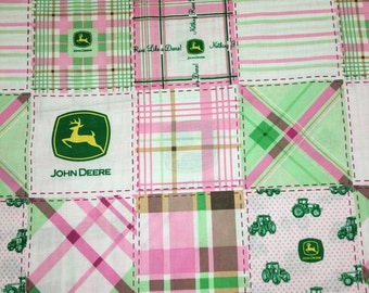 John Deere Madras Plaid Pink Green Girls Patchwork Apparel Quilting 100% Cotton Fabric FULL Yard