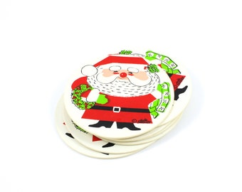 Vintage Christmas Santa Foam-Backed Vinyl Coasters, Set of 7, by Stotter circa 1960s