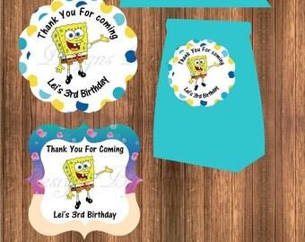 Sponge BoB Thank You Sticker/Tags