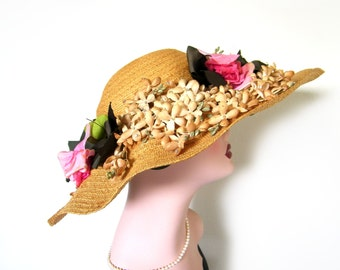 Vintage 1950's Floral Straw Cartwheel/ Picture Hat~ Gardner
