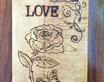 Love wood burned design plaque