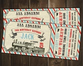 Train Birthday Invitation, Vintage Train Invitation, Boy Invitation,  Train Ticket Style Invite, Train Party, Printable DIGITAL Invitation