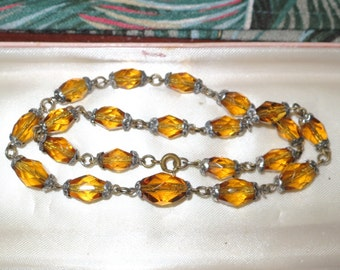 Vintage 1950s faceted amber glass necklace