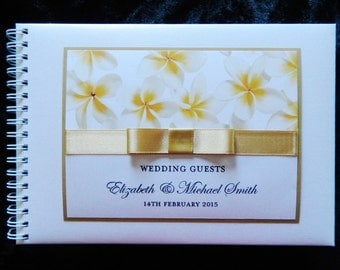 Personalised Guest book Deluxe Frangipani Design