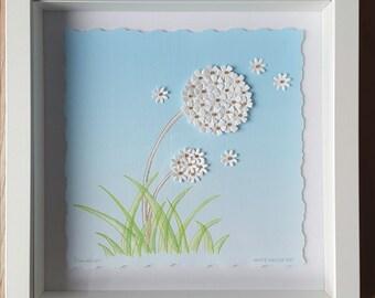 Dandelion. Handmade box-framed artwork from original watercolour, embellished with paper flowers