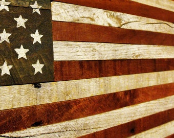 Distressed rustic American wood US flag reclaimed pallet wooden colonial Besty Ross and 50 stars versions 4th of July Memorial Veterans Day