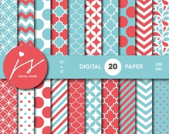Red and Blue Digital Scrapbook Paper, Printable Paper, Seamless Paper Pattern Bundle Sale, Paper Pack Kit, Commercial Use, MI-492