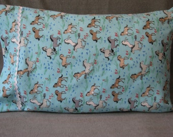 Horses in fields blue cotton flannel standard size handmade pillowcase
